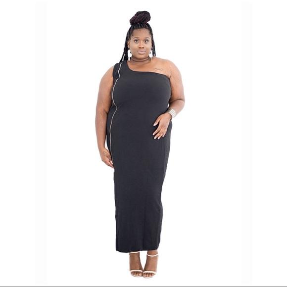 Dresses Plus Size Black One Shoulder Dress Poshmark